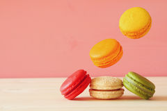 Image of falling colorful macaron Royalty Free Stock Photo