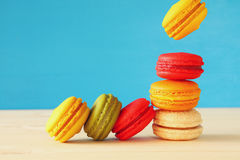Image of falling colorful macaron Royalty Free Stock Image