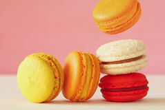 Image of falling colorful macaron Stock Photography