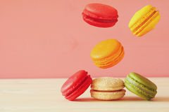 Image of falling colorful macaron Stock Image