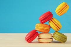 Image of falling colorful macaron Stock Photos