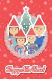 Image of  family in round frame on snowflakes background . Royalty Free Stock Photography