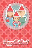 Image of  family in round frame on snowflakes background . Royalty Free Stock Image