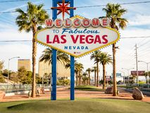 Image of the famous Las Vegas welcome sign. A big tourist attraction and must see thing to do for holiday makers royalty free stock image