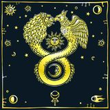 Image of fantastic animal ouroboros with a body of a snake and two heads of a lion and a bird. Stock Photography
