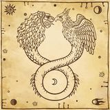 Image of fantastic animal ouroboros with a body of a snake and two heads of a lion and a bird. Symbols of the moon and sun. Royalty Free Stock Image