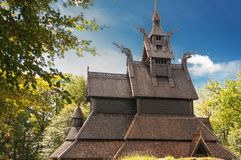 An image of the Fantoft stave church in Bergen royalty free stock image