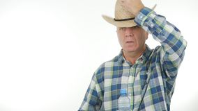 Farmer Take His Hat in a Salute Gestures stock photography