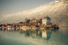 Beautiful lake brienz in switzerland. This image features a beautiful clear lake brienz in Switzerland royalty free stock photography