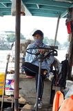 Portrait of Thai Woman Boat Driver Royalty Free Stock Photo