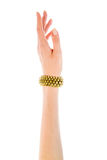 Image of female hand with a copper bracelet Royalty Free Stock Photo