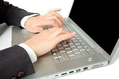 Image of female hands on keyboard of laptop Stock Photos