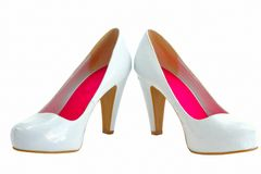 Image of female heels on a white background Stock Photos