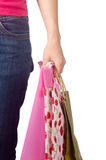 Image of female holding shoppingbags in her hand Royalty Free Stock Images