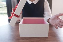 Image of female open gift box stock photos