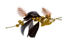 Image of female ornaments on a chain with feathers Royalty Free Stock Photo
