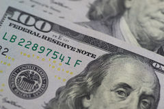 Image fermée- de 100 billets de banque du dollar Techniq de foyer sélectif Photos stock