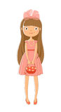 Image festive-dressed girl with a handbag. Isolated image of a girl with long brown hair with pink bow on head, pink dress with the decoration of beads, a purse Royalty Free Stock Photo