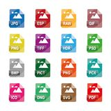 Image file formats, file extensions, Flat colorful  icons, isolated on white background. Image file formats, file extensions, Flat  icons, Collection of 16 Stock Images