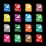 Image file formats, file extensions, Flat colorful vector icons, isolated on white background. Image file formats, file extensions, Flat vector icons Royalty Free Stock Photography