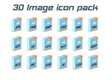 Image file formats. Photo and graphic file type 3d icons. Stock Images