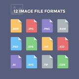 Image File Formats. Photo and graphic file type icons Royalty Free Stock Photo