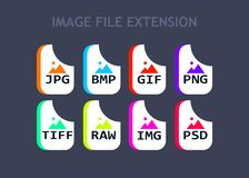 Image file formats. Photo and graphic file type icons. Simple design Stock Photo