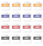 Image File Icons. A set of 16 document icons in four different colours. They are based in common graphic/image file types Stock Photos