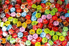 Image filled with assorted incense packages displayed in Camden Royalty Free Stock Photography