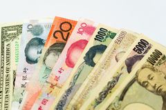 Image of finance, with various banknotes from 10000 to 1 Stock Photography