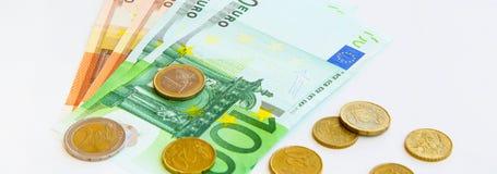 image financière conceptuelle de pièces de monnaie de billets de banque euro Photo stock