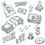 Financial Investment Symbols Drawing Set. An image of a Financial Investment Symbols Drawing Set on a grid background Royalty Free Stock Photo
