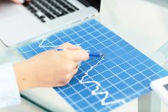 Image of financial report and graphics for business. In office Stock Photo