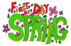 First Day of Spring Lettering. An image of a First Day of Spring Lettering with flowers and leaves Stock Illustration