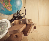 image of five horn beetle and wooden plane Royalty Free Stock Images