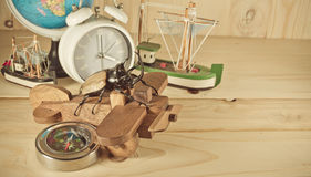 image of five horn beetle and wooden plane Royalty Free Stock Image
