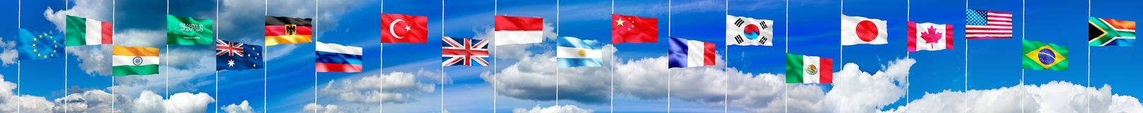 Image of flags of different countries closeup Stock Photo