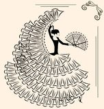 Image of flamenco with fan Royalty Free Stock Photos