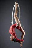 Image of flexible dance performer on aerial hoop Stock Images