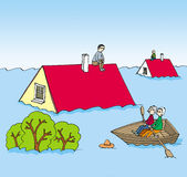 An image of a flood. And mans on the roof of his flooded houses Royalty Free Stock Image