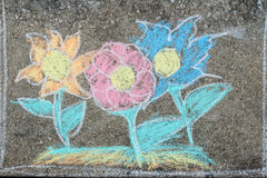 Image of flowers drawing on cement floor Stock Photo