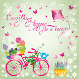 Image with flowers in pots and bicycle on sky blue background. D Stock Photos