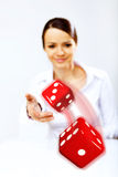 Flying dices as symbol of risk Royalty Free Stock Photos