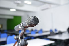Image focusing to the microphone in the training room Stock Photos