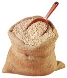 SACK OF PEARL BARLEY CUT OUT stock photo