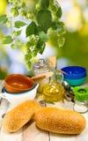 Image  of food on picnic closeup Stock Photos