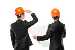 Image of foremen interacting together at meeting. Isolated on white background Stock Images