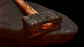 Forge hammer. The image of a forge hammer 3D illustration Royalty Free Stock Photo