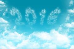 image 2016 formée de petits nuages sur bleu-clair Images stock