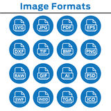Image format icons - PNG, JPG, EPS, PDF, SVG. Icons to show different image formats, including JPG, SVG, EPS, DXF, etc Stock Images